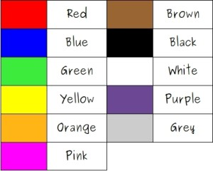 Colores en ingles, básicos
