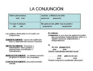 Ejemplos de conjunciones, clasificación