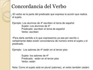 Oraciones con verbos, concordancia