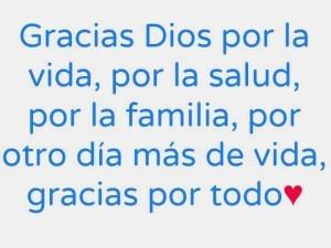 Palabras de agradecimiento a dios, por la familia