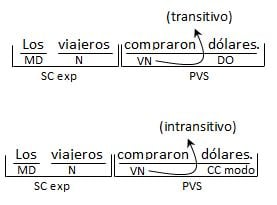 Verbos transitivos, comparación con los intransitivos