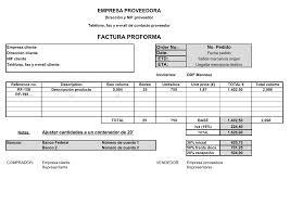 Ejemplos de facturas, pro forma