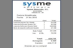 Ejemplos de facturas, simplificada