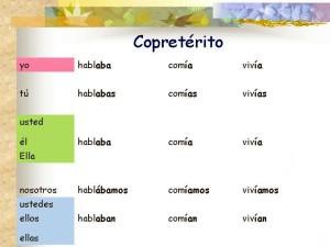 Verbos en copretérito, ejemplos