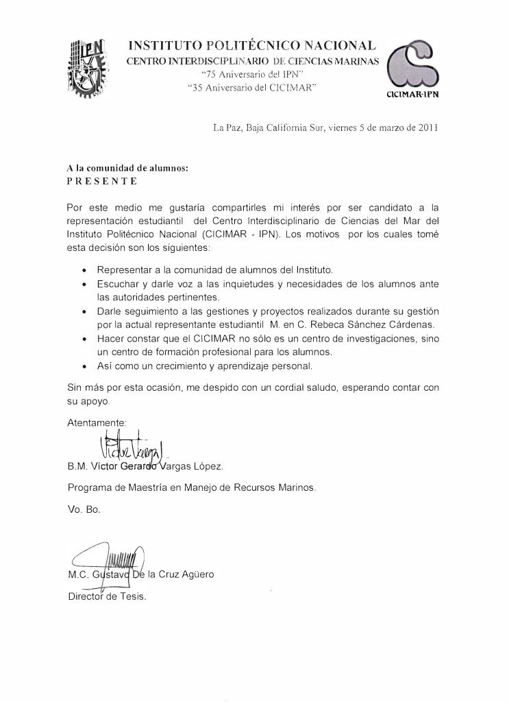 carta de motivos de representante