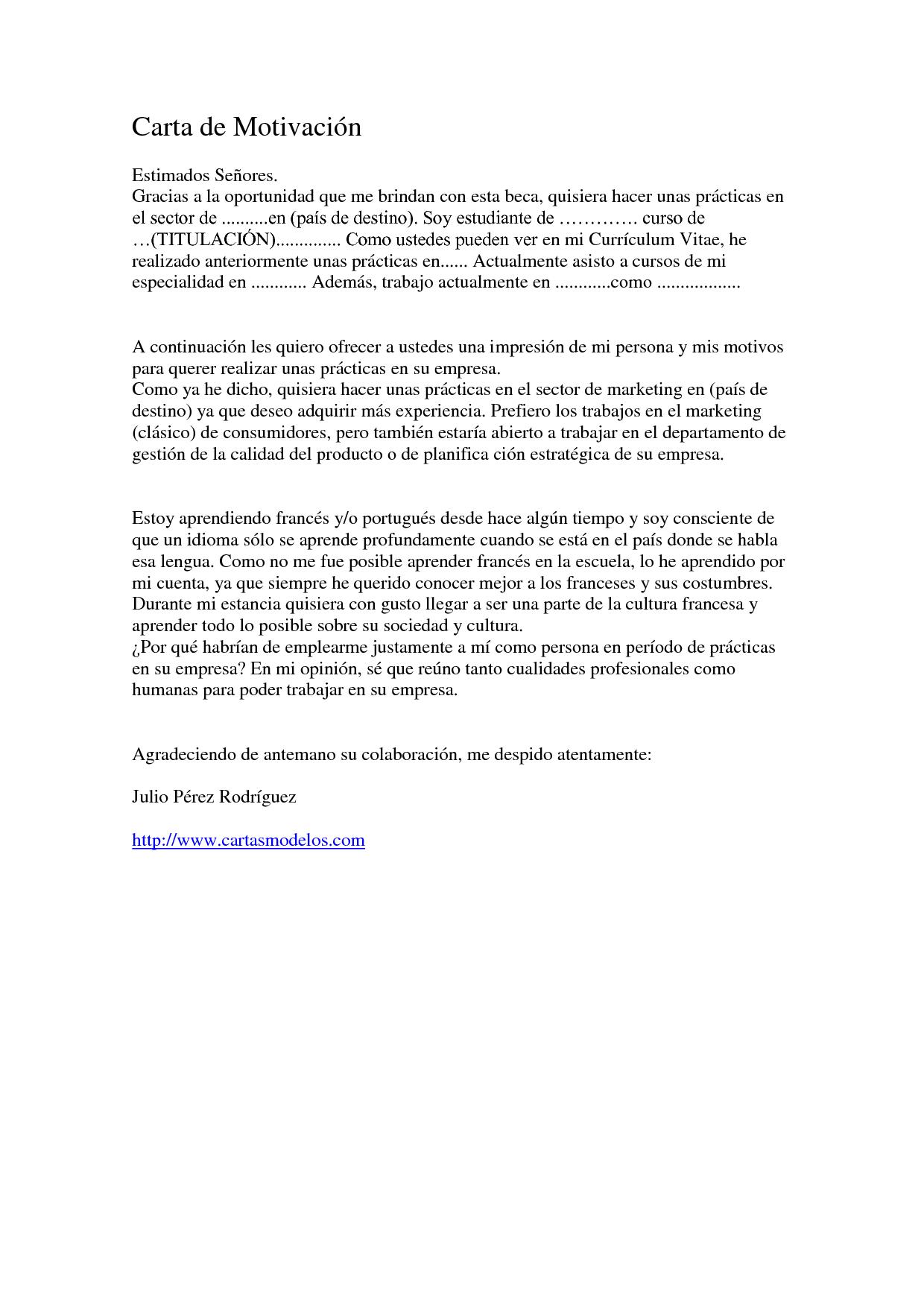 Carta De Motivacion Ejemplos De
