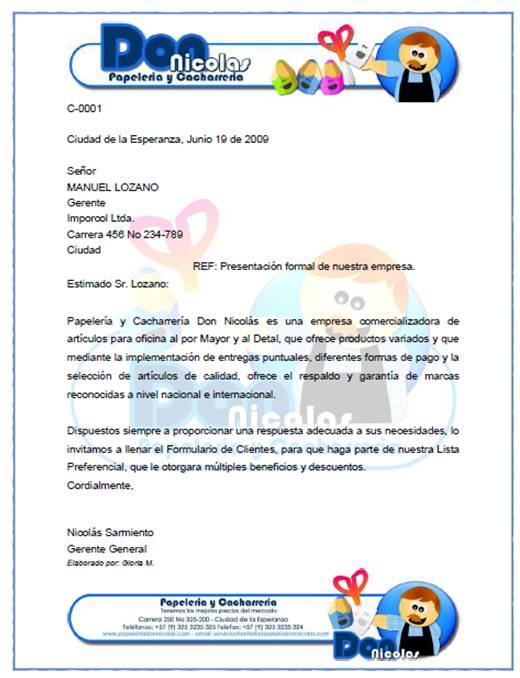 Carta De Presentacion De Una Empresa Ejemplos De