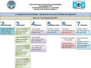 Ejemplo de cronograma de actividades, evento en un campus universitario