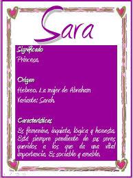 Significado del nombre Sara, en otras lenguas