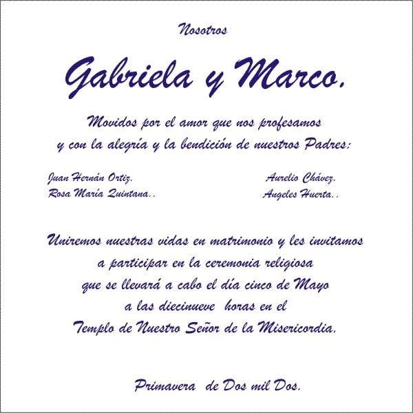 Invitacion De Boda En Espanol Ejemplo Wpart Co