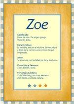 Significado del nombre Zoe y la numerología
