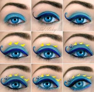 Cómo maquillarse los ojos en tonos azules.