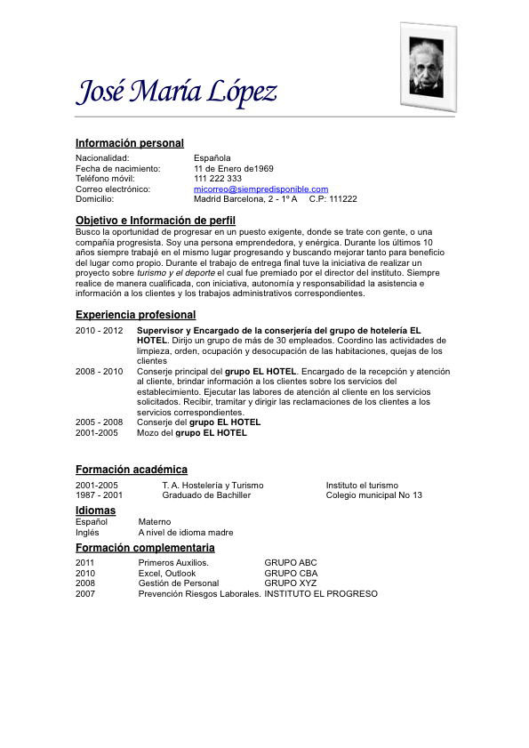 Modelos De Curriculum Vitae 2014 Peru Word Coursework Pharmcas
