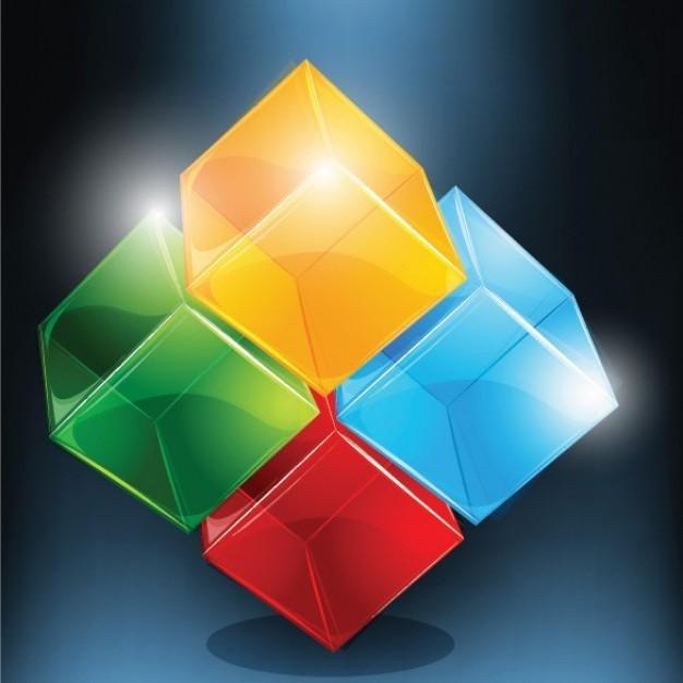 Como esté ejemplo. Se diseñan logotipos empleando cuadrados y colores en combinación.