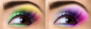 Maquillaje multicolor para ojos oscuros.