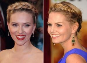 Scarlett Johansson  y   Kirsten Dunst con sus cabellos recogidos con trenzas.