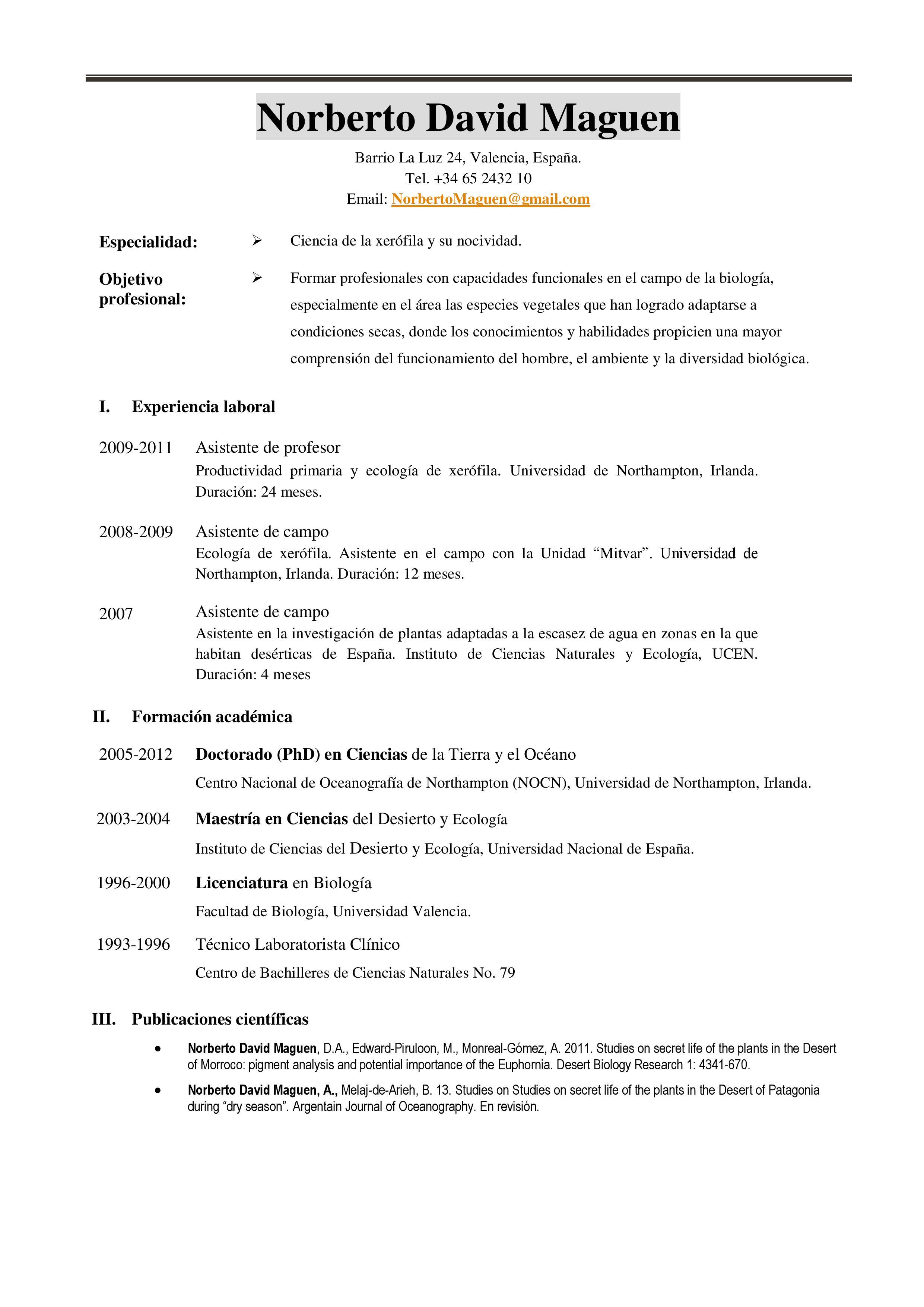 Como hacer un currículum académico - Ejemplos De
