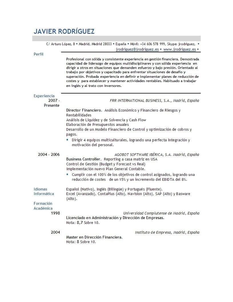 Como escribir un currículum vitae ejecutivo - Ejemplos De