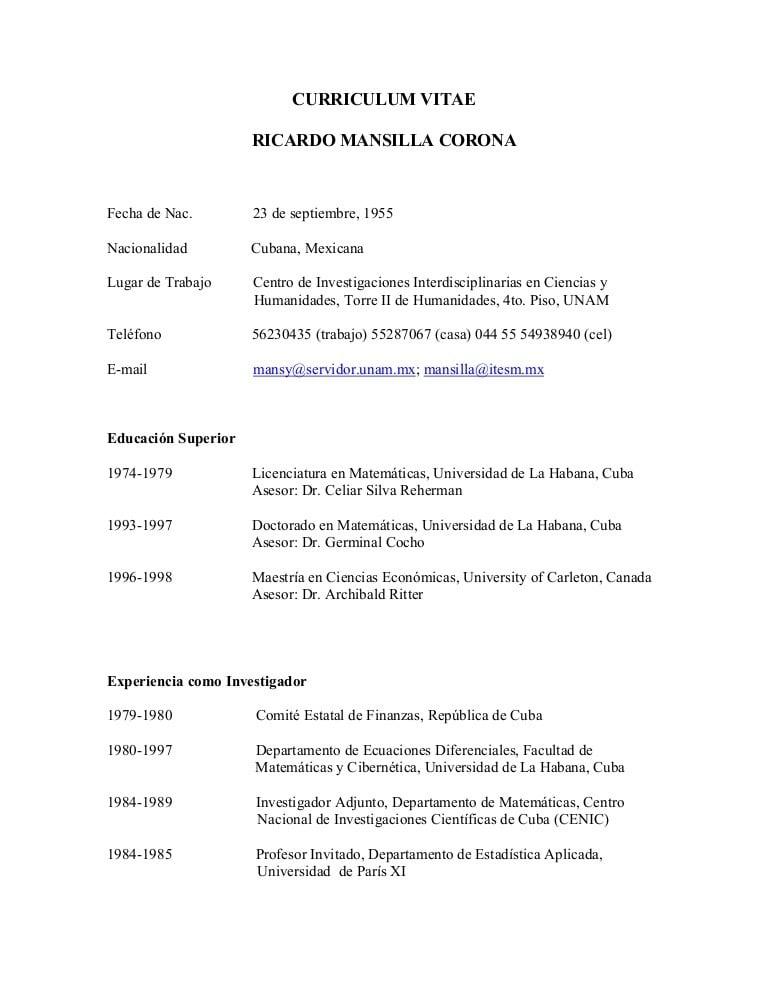 Curriculum Vitae Para Costa Rica Www Busyfingerspatchwork Com