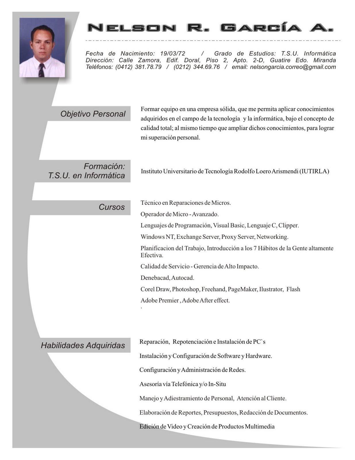 Currículum informática - Ejemplos De