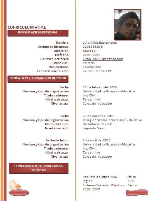 Currículum ingeniero civil