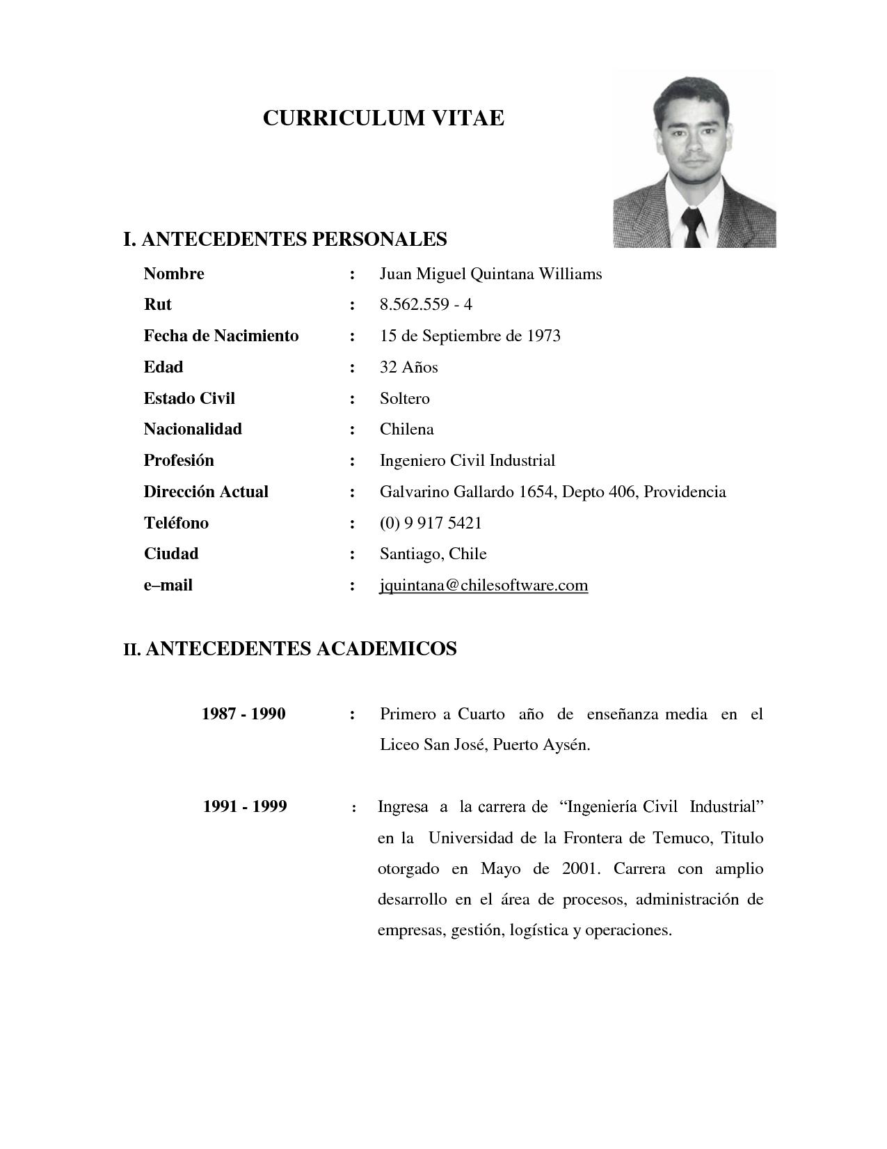 Como hacer un currículum de ingeniero industrial - Ejemplos De