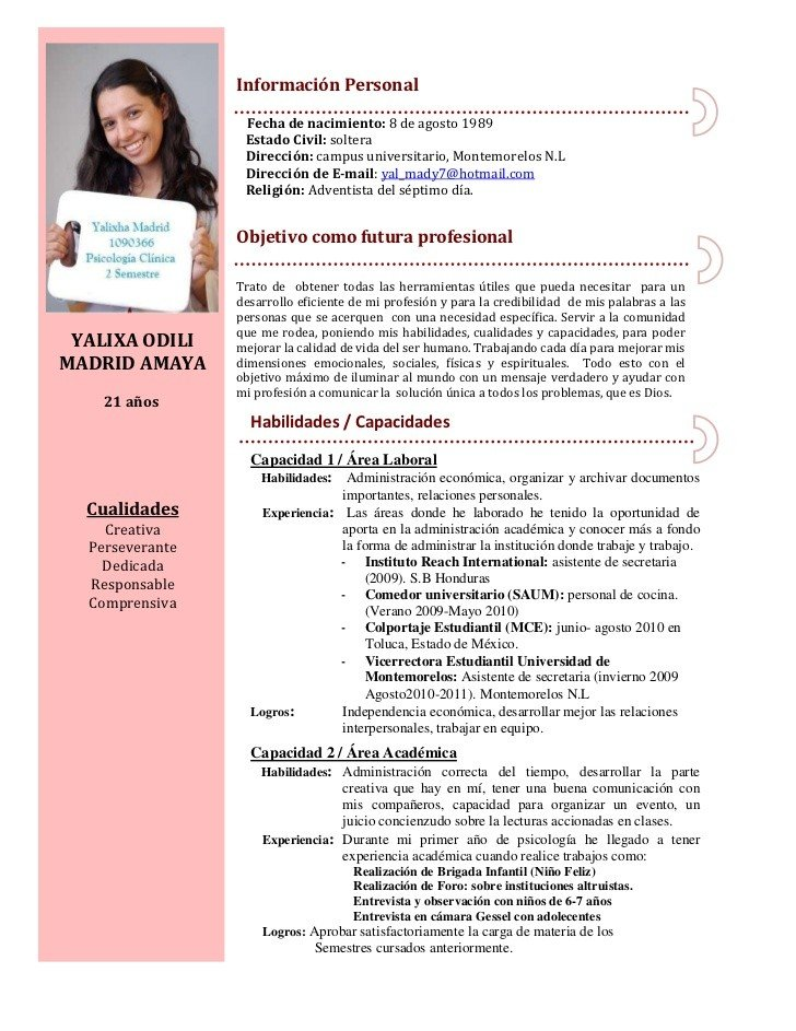 Currículum secretaria 2