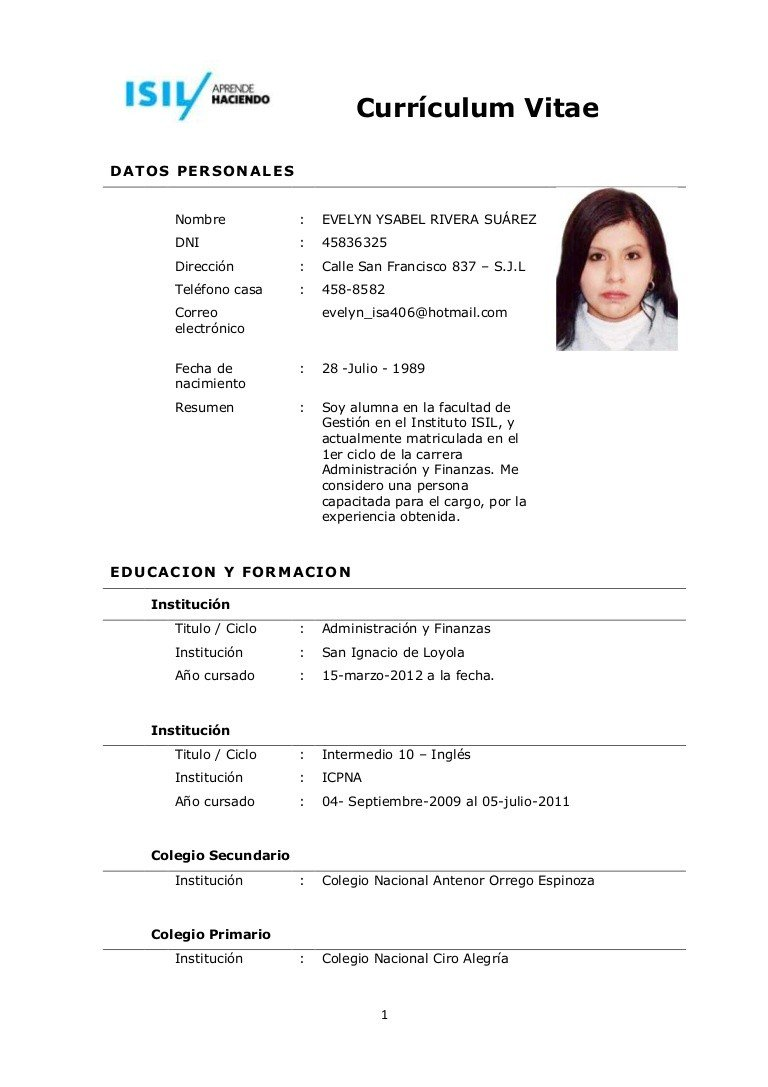 Como Hacer Un Curriculum Vitae - More CV Samples