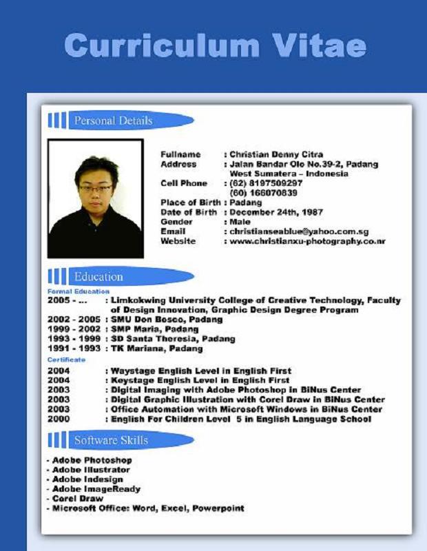 currículum en inglés