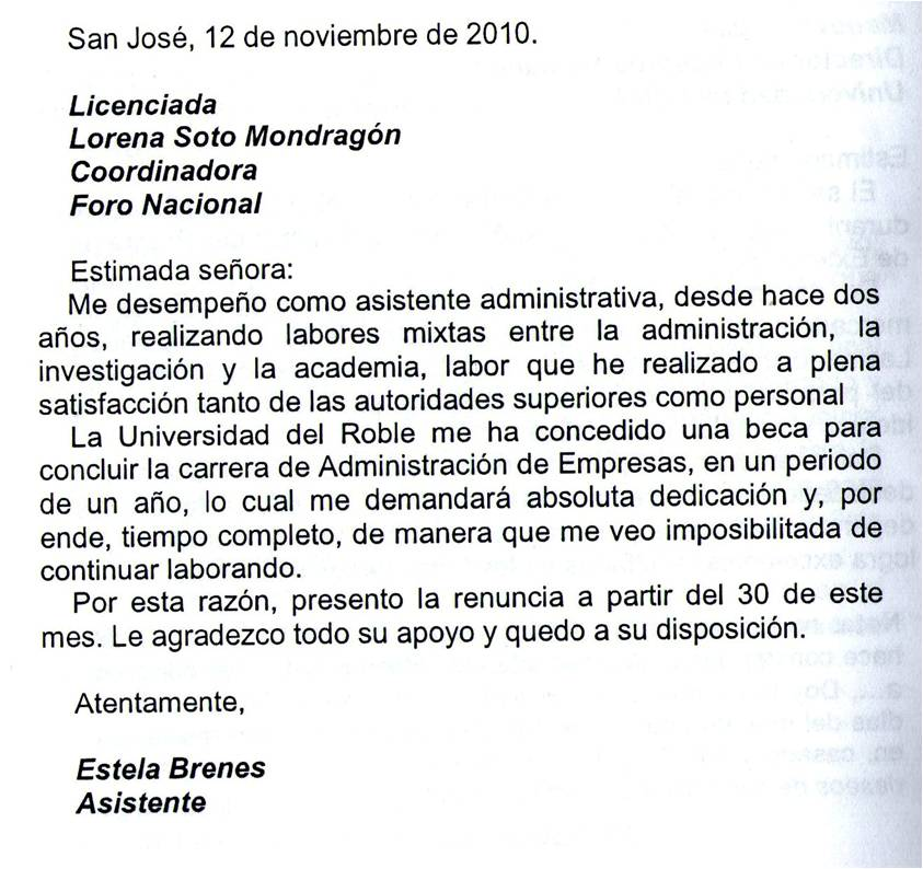 C 243 mo redactar una carta de renuncia ejemplos de