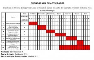 Cronograma de actividades para un proyecto