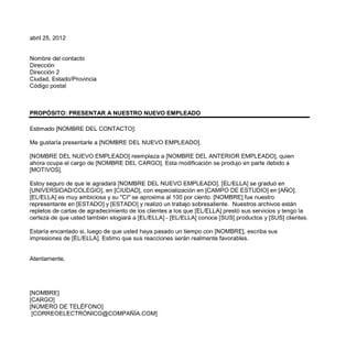 Carta de presentación de un nuevo empleado