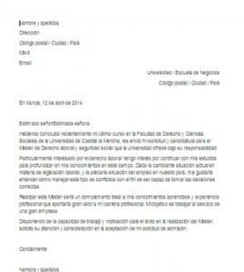 Carta de presentación para un máster