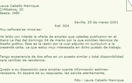 Ejemplo de carta de presentaci n b sica ejemplos de for Oficina de empleo por codigo postal