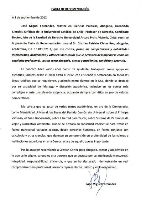 Ejemplo de carta de recomendación académica para máster