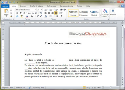 machote de carta de recomendacion personal en word