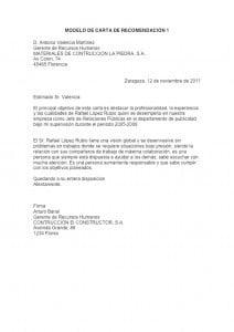 Ejemplo de carta de recomendación formal