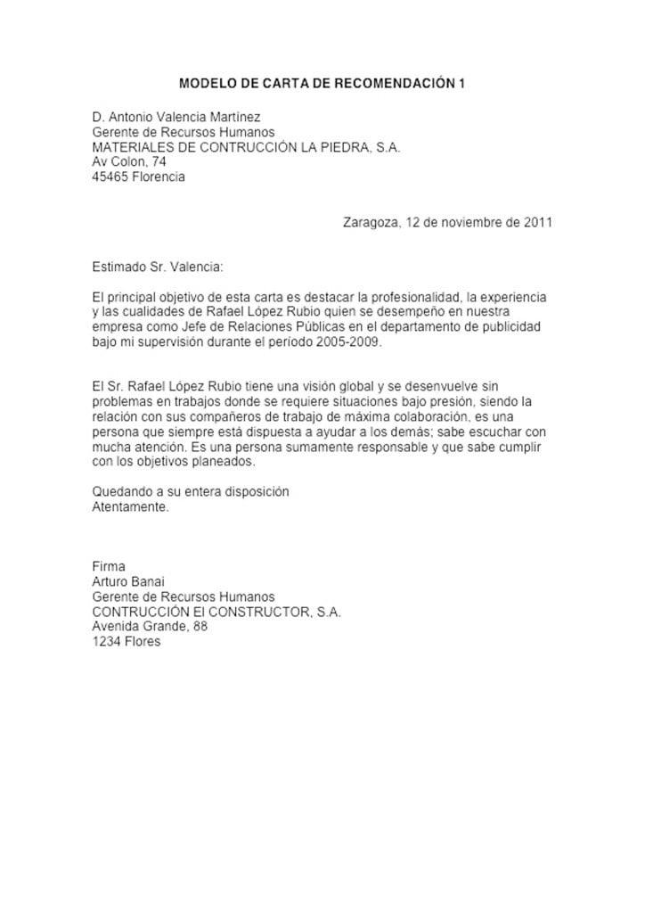 ejemplo de carta de recomendaci u00f3n formal