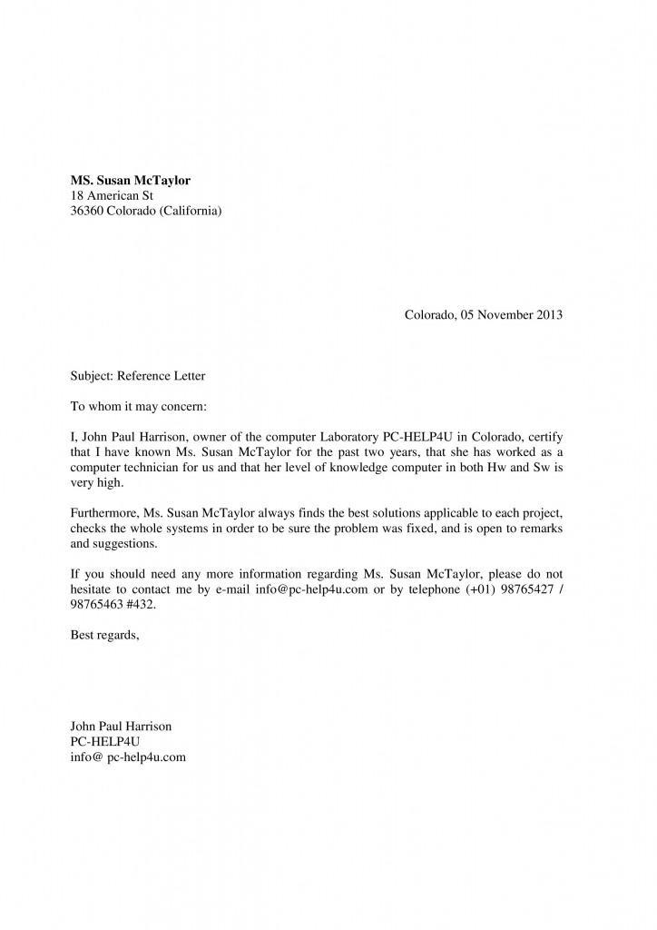 carta de recomendacion personal ejemplos