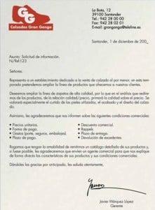 Modelo carta solicitud de información
