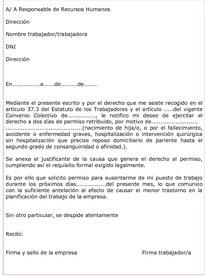 Modelo carta solicitud de vacaciones