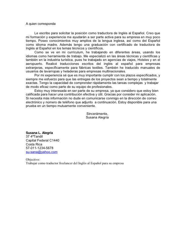 Modelo De Carta De Presentacion Que Acompa A Al Curriculum Vitae