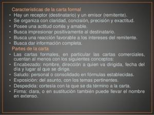 Características de la carta formal