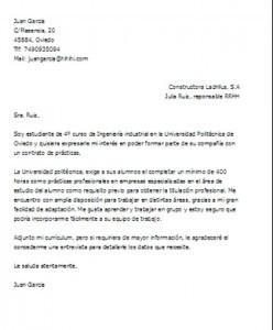 Carta de motivación para prácticas profesionales