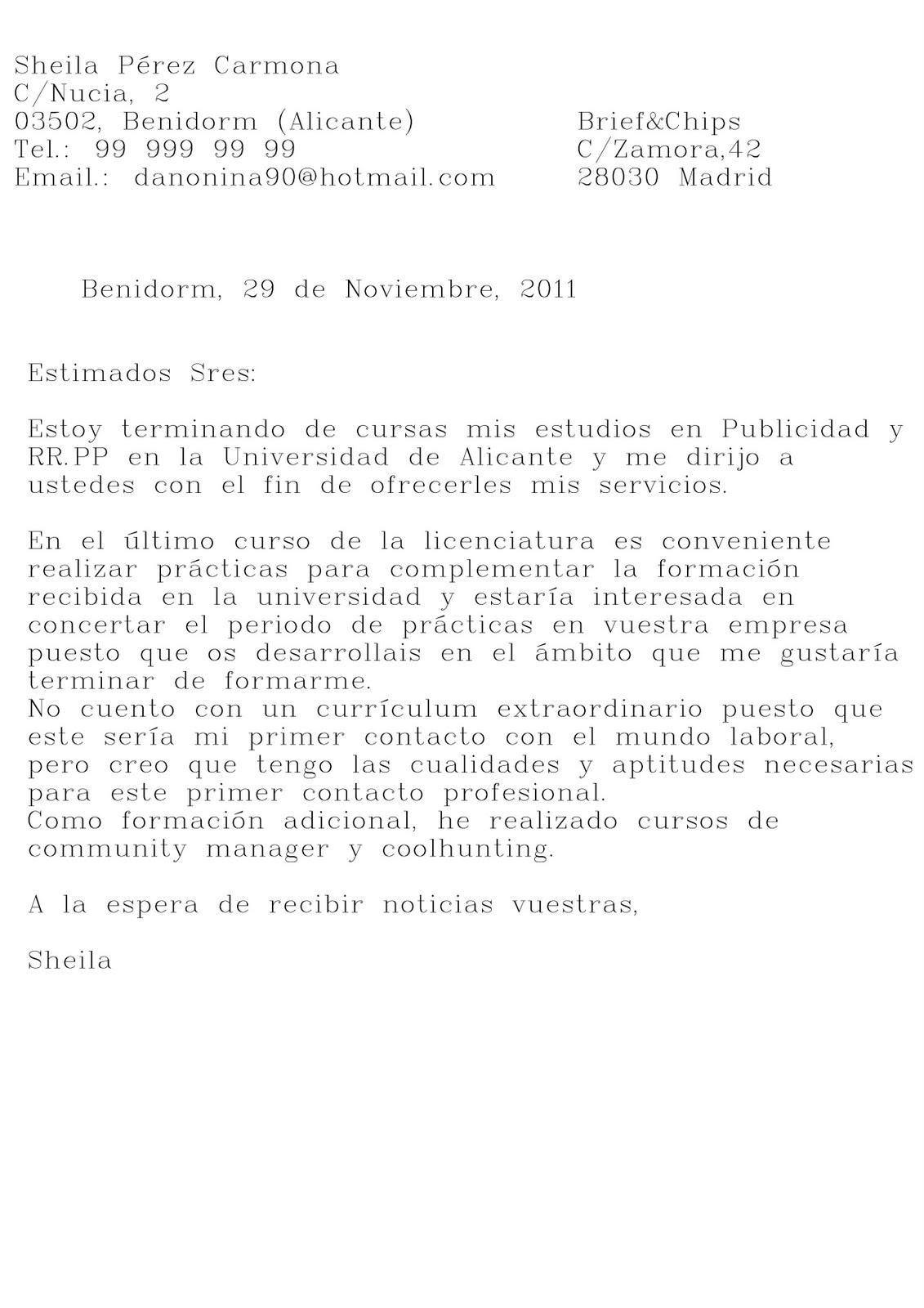 Magnífico Carta De Presentación Para Prácticas Laborales Ideas ...