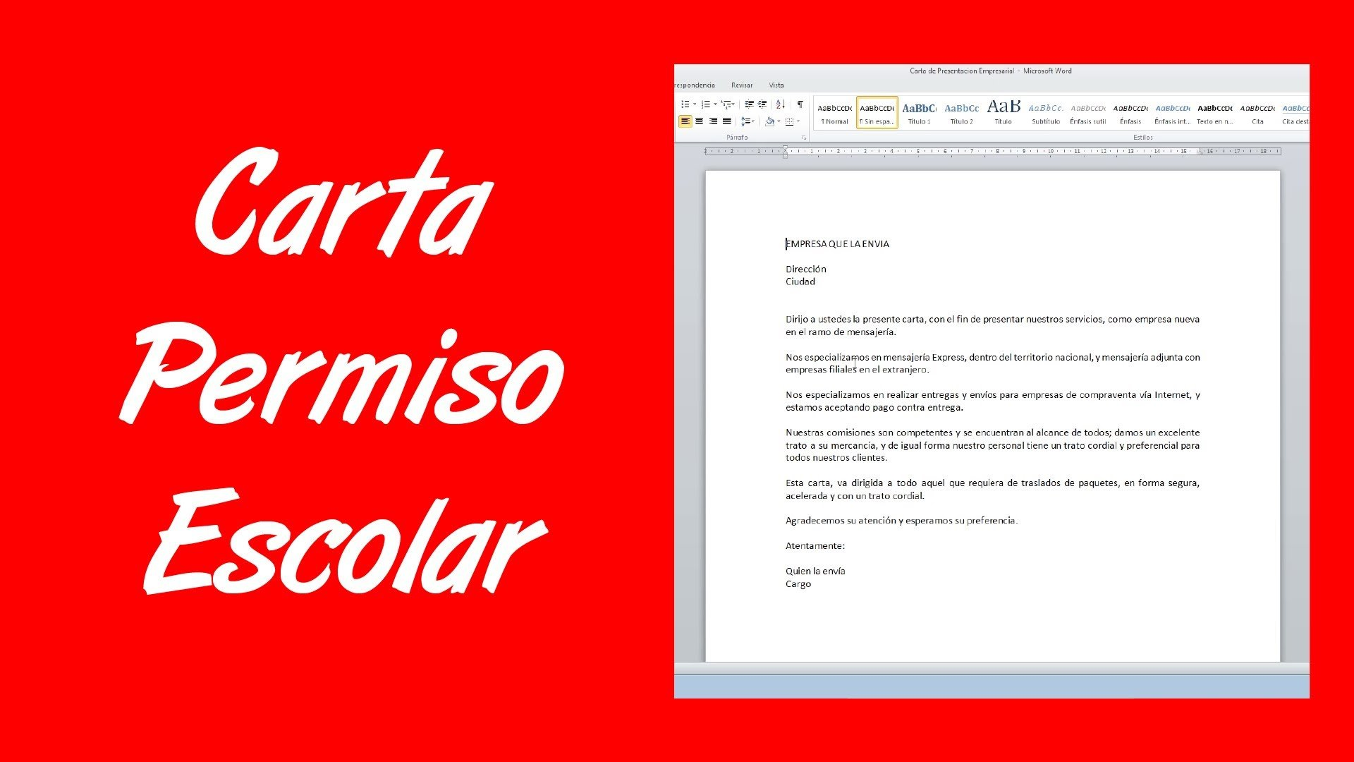 Ejemplo de carta formal escolar 3
