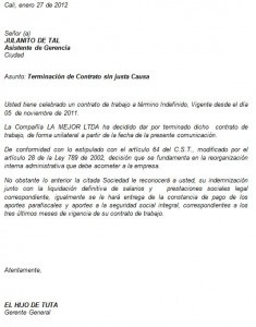 Ejemplo de carta formal laboral