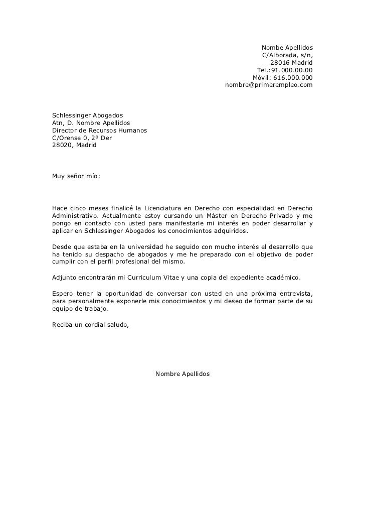 ejemplo de carta formal para solicitar trabajo