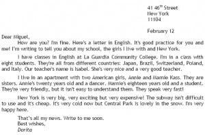 Ejemplo de carta informal en inglés