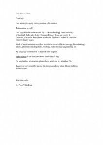 Carta de motivación en inglés